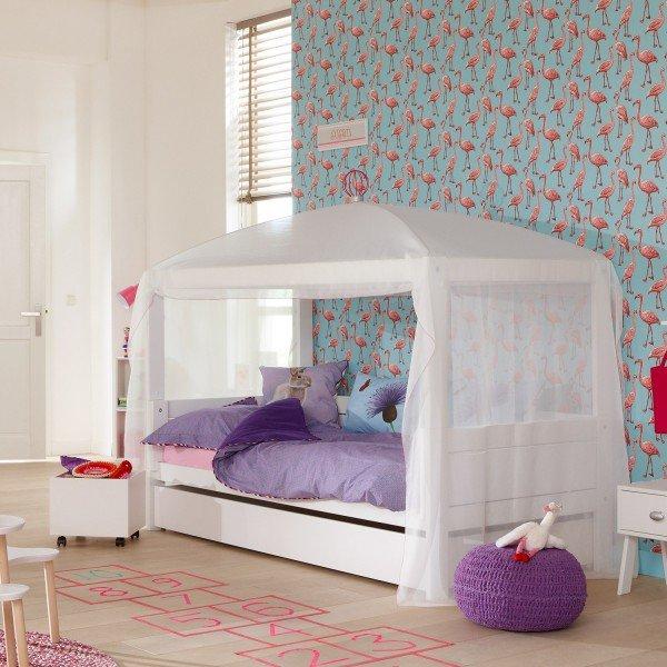 """1 Bett mit 4 Aufbaumöglichkeiten, hier als normales Himmelbett inklusive Betthimmel """"white/pink"""" und Bettkasten (Zubehör)"""