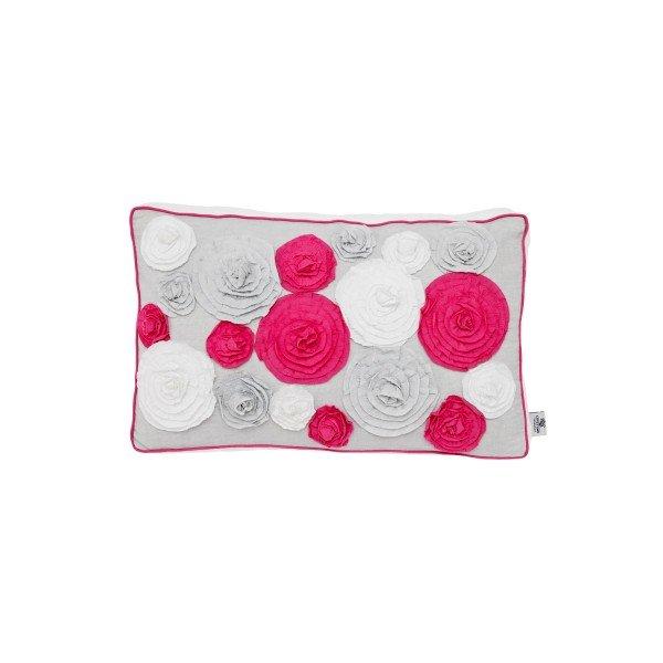 Lifetime Kissen Ibiza Bloom, eine Seite mit Rosen in weiß, grau und pink, die andere Seite weiß