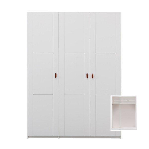 Dreitüriger Kleiderschrank in deckend weiß
