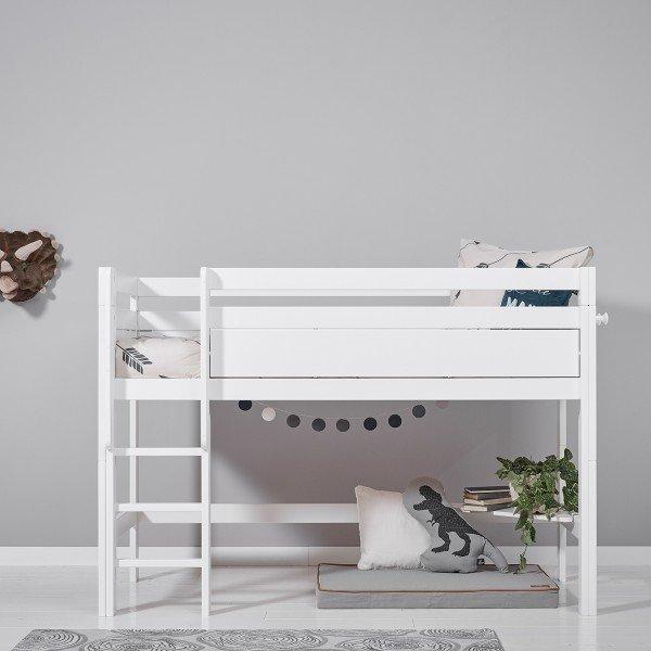 Halbhohes Bett in deckend weiß mit Deluxe Lattenrost, gerade Leiter