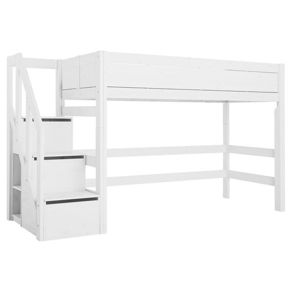 Mittelhohes Bett mit Treppe, white