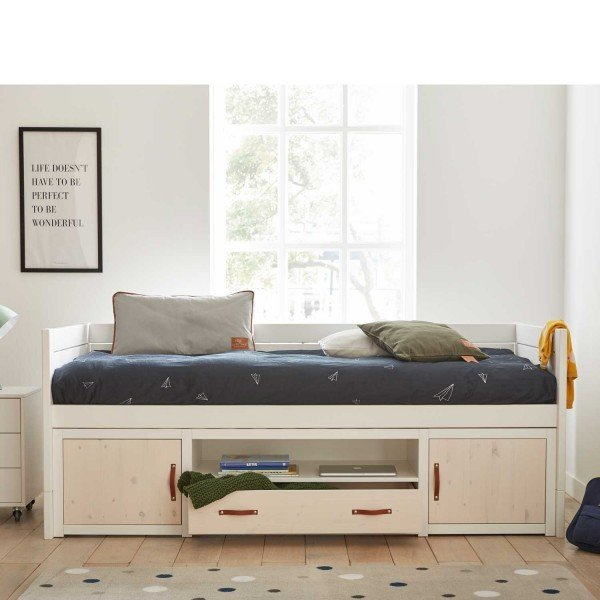 Farbbeispiel: Bett weiß, Türen und Schublade whitewash, die Griffe bestellst Du bitte zusätzlich falls gewünscht