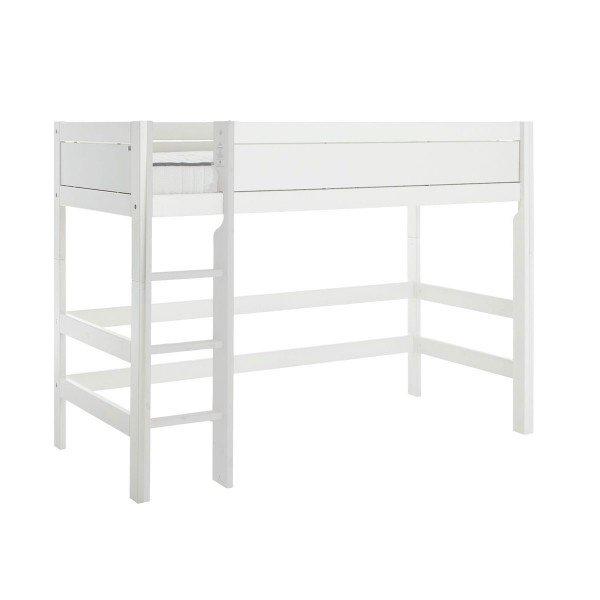 Mittelhohes Bett in deckend weiß mit Deluxe Lattenrost, gerade Leiter*Auslauf*