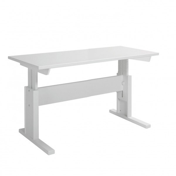 Lifetime höhenverstellbarer Schreibtisch in deckend weiß ohne Schublade