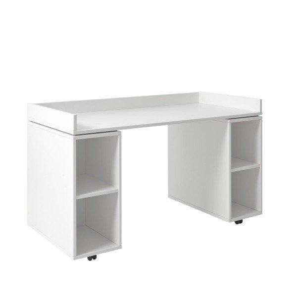 Schreibtisch auf Rollen mit Regalmodul, deckend weiß (Abb. ähnlich, 3D erzeugt)