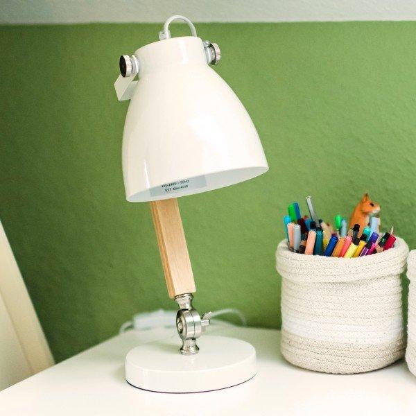 Retro Schreibtischlampe 8154, Holz/ Metall weiß