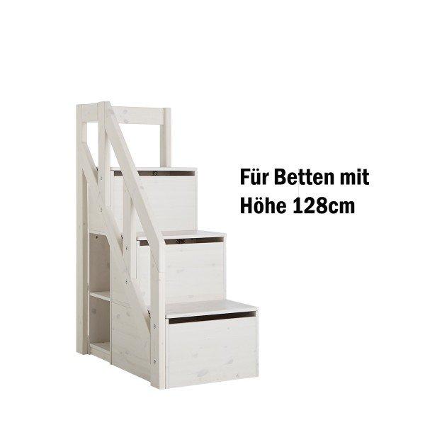 Treppe mit Geländer für halbhohe Betten, whitewash (H 128cm)