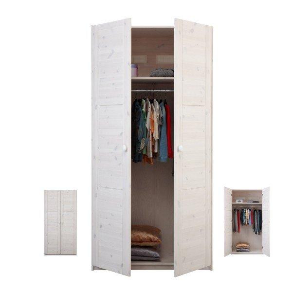 Lifetime Kleiderschrank aus dem Endlossystem. Hier in uni whitewash (Korpus und Türen).