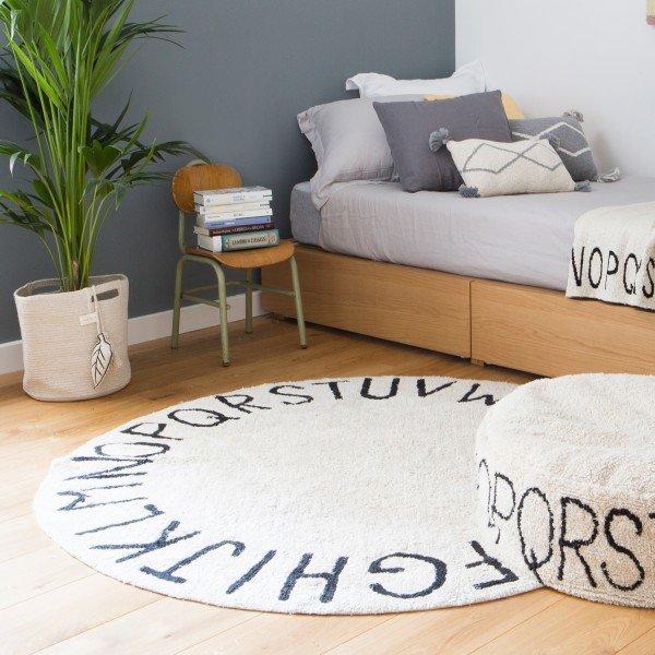 Waschbarer Teppich Round ABC Natural-Black