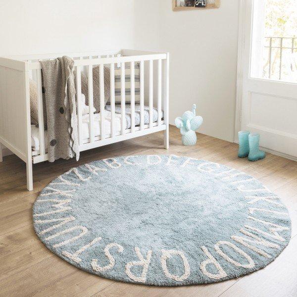 Waschbarer Teppich Round ABC Vintage Blue-Natural