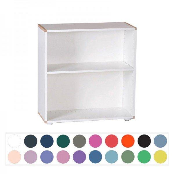 Manis-h Niedriges Bücherregal mit 1 Boden, Rückwand farbig möglich, Bucheleisten wie Abb. möglich.