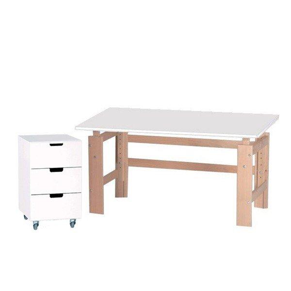 Manis-h Schreibtisch mit weißer Tischplatte und Rollcontainer