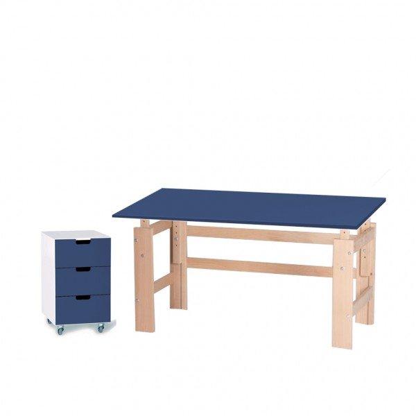 Set 3: Schreibtisch 115 cm, farbig/ Buche mit passendem Rollcontainer