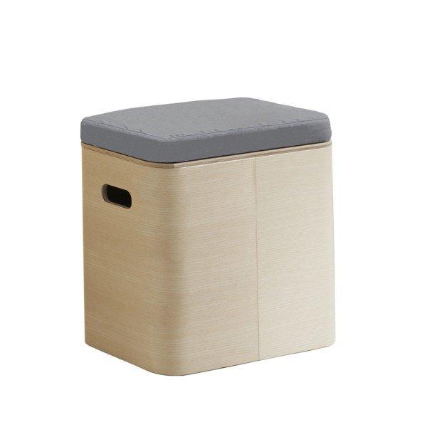 Mild Aufbewahrungsbox Esche mit Sitzpolster grau