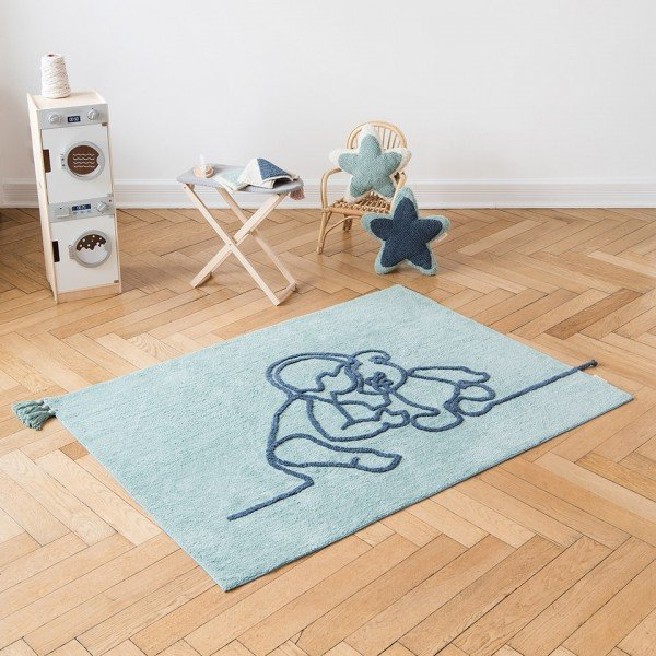 Teppich Line Art - Junge mit Teddybär