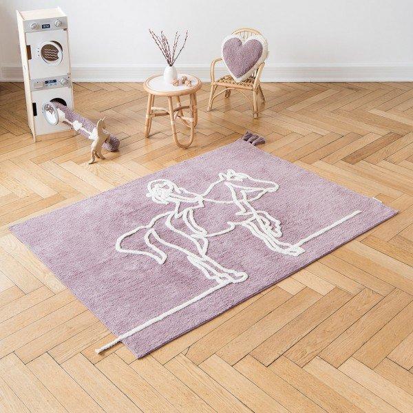 Teppich Line Art - Mädchen auf Pferd