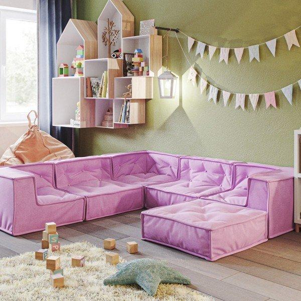Kindersofa-Kombination D rosa, 6-teilig