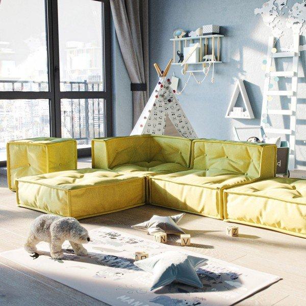 MyColorCube - Kinder Sofa Set E gelb, 5-teilig