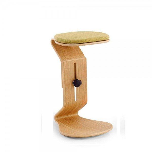 Hocker Ercolino ready aus Eiche mit flachem Sitzpolster (Farbe des Sitzpolsters wählbar)