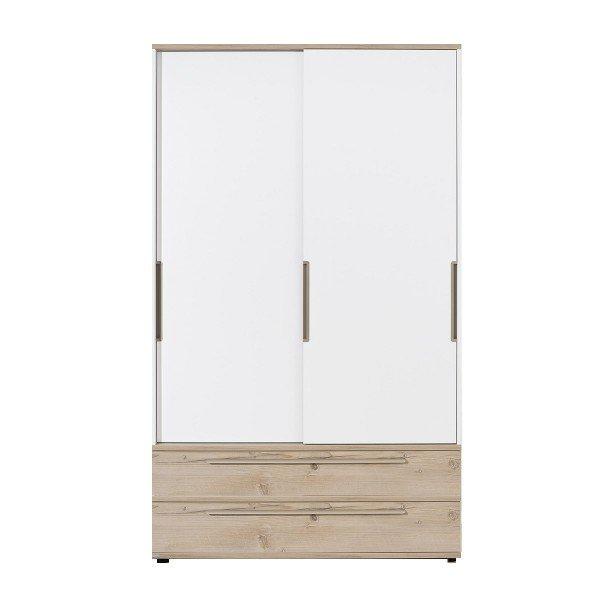 Carlo Schiebetüren-Kleiderschrank, B 123,5 cm, Schubladen in Fichte