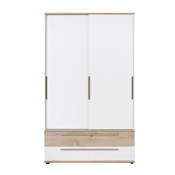 Carlo Schiebetüren-Kleiderschrank, B 123,5 cm, Schubladen in Kreideweiß und Fichte