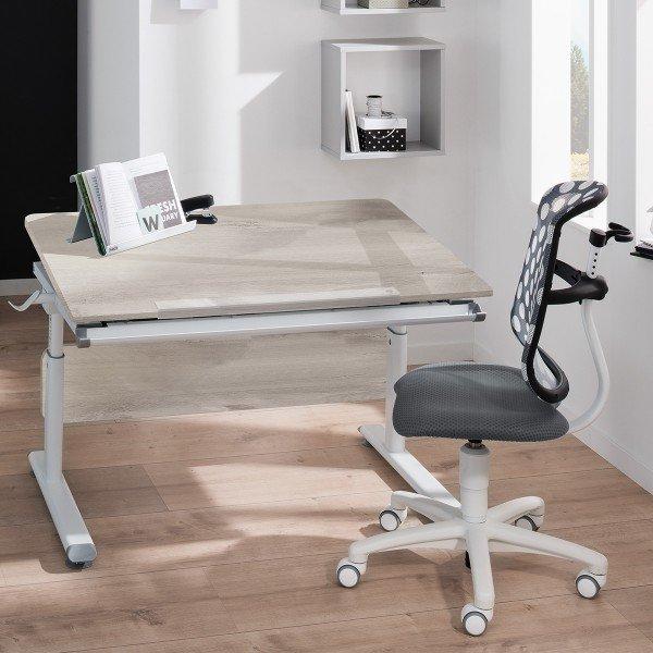 Paidi Schreibtisch Diego, Gestell weiß, Tischplatte Eiche-Nautic-Nachbildung