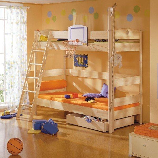Paidi Fleximo Etagenbett 183 mit Basketballkorb und Kletterturm
