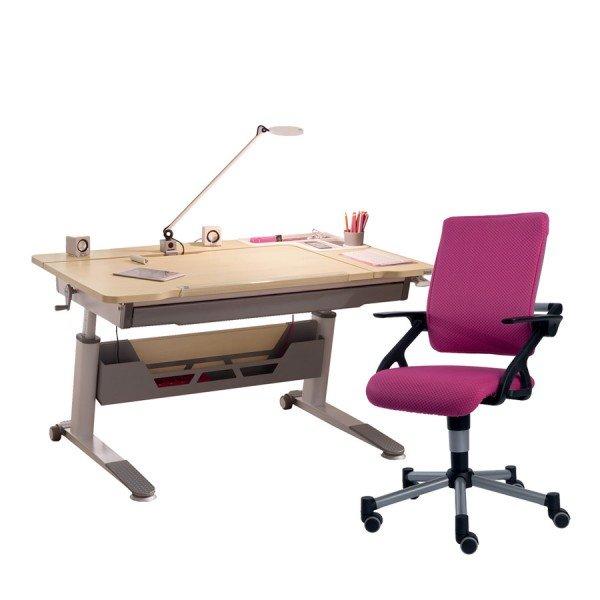 Schreibtisch Jaro rechts in Birke-Nachbildung mit Drehstuhl Tio in brombeere (Schublade, Kabelkanal, Lampe und Tablet-Holder optional)