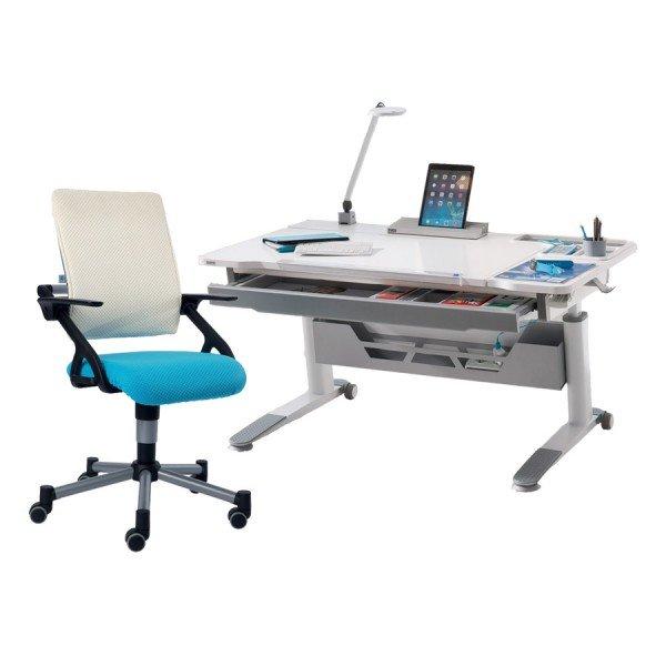 Schreibtisch Jaro rechts in kreideweiß mit Drehstuhl Tio in azurblau / weiß (Schublade, Kabelkanal, Lampe und Tablet-Holder optional)