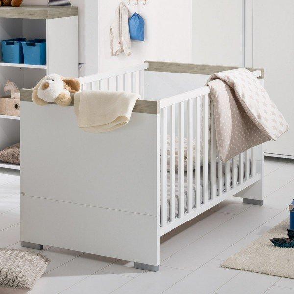 Paidi Kira Babybett in Kreideweiß/Eiche-Nautik-Nachbildung