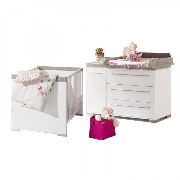 Kira Starterset Babymöbel - Wickelkommode breit & Babybett in 2 Farben
