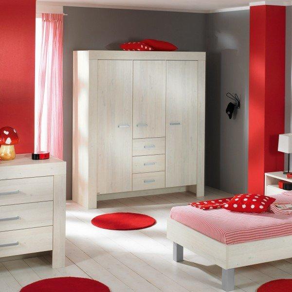 Kleiderschrank Mees mit 3 Türen und Schubladen