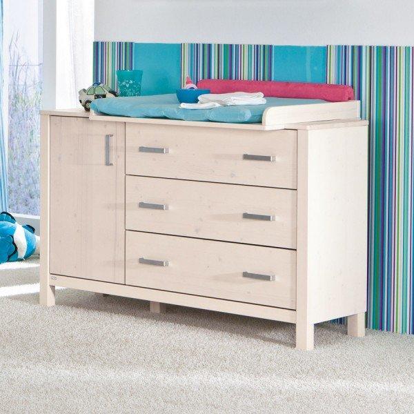 Paidi Pinetta Kommode breit mit 1 Tür und 3 Schubladen in weiß