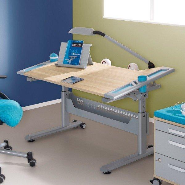 Paidi Tablo Schreibtisch in Eiche-Nachbildung mit Applikationen in azurblau