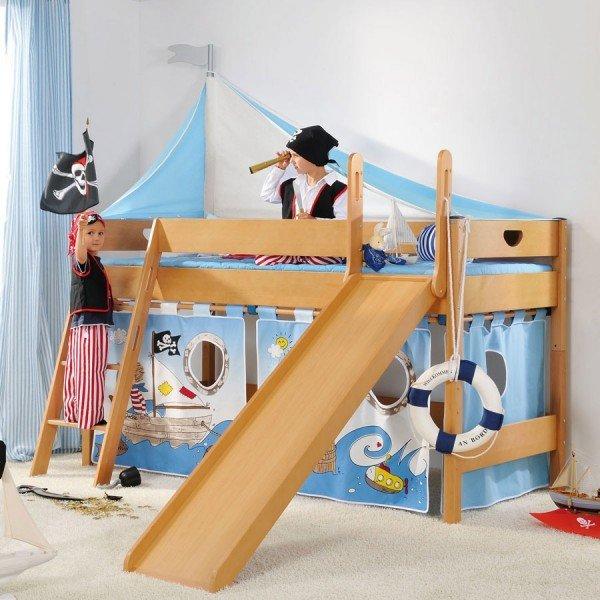 Toller Spielvorhang für kleine Seeräuber. Das Dach für oben ist auch im Shop erhältlich.