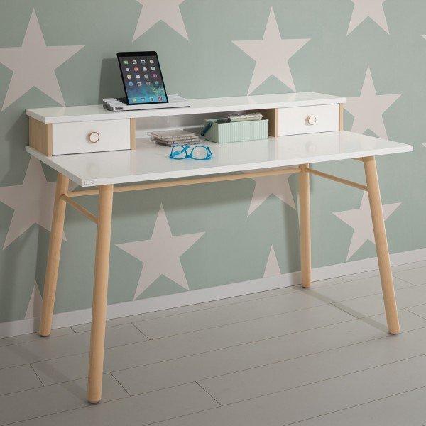 Paidi Ylvie Schreibtisch mit Beinen aus massiver Birke, ansonsten in Kreideweiß