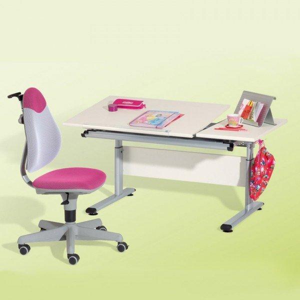 Set aus Paidi Schreibtisch Marco 2 mit geteilter Tischplatte und Paidi Drehstuhl Pepe.