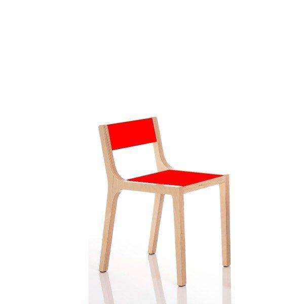 Kindergartenstuhl mit Sitzhöhe 21 cm, Beispiel hier HPL rot