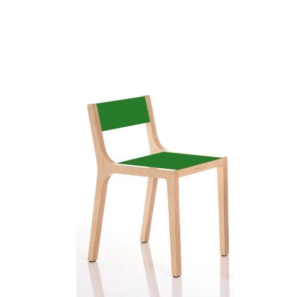 Kindergartenstuhl mit Sitzhöhe 26 cm, Beispiel hier HPL grün