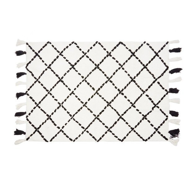 Teppich Karo weiß / schwarz 120 x 160 cm