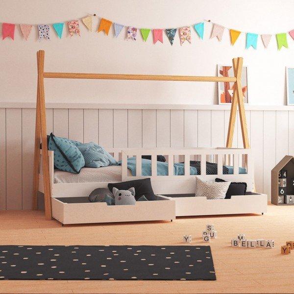 Tipibett Bella mit 2 Bettkästen und Geländer