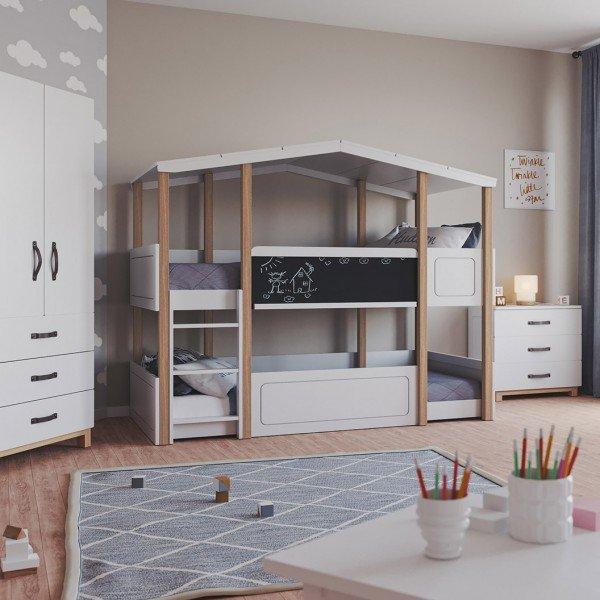 Kinderzimmer Cory (bestehnd aus Etagehbett, Schrank, Kommode und Regal