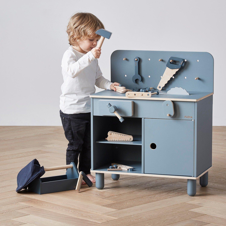 Flexa Toys Werkzeugbank in blau für Kids ab 3 Jahre ...