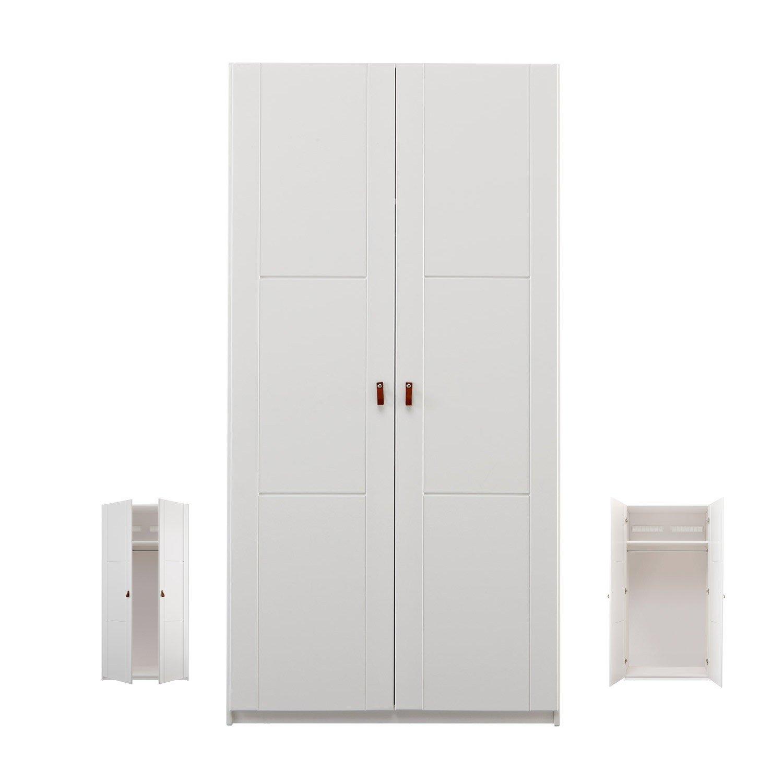 Lifetime erweiterbare Kleiderschrank mit Drehtüren, B 100 cm in deckend weiß, Griffe wählbar ...