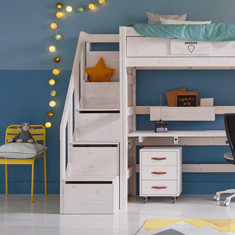 Treppe mit Geländer für Hochbetten und Familien Etagenbetten, whitewash (H 177cm)