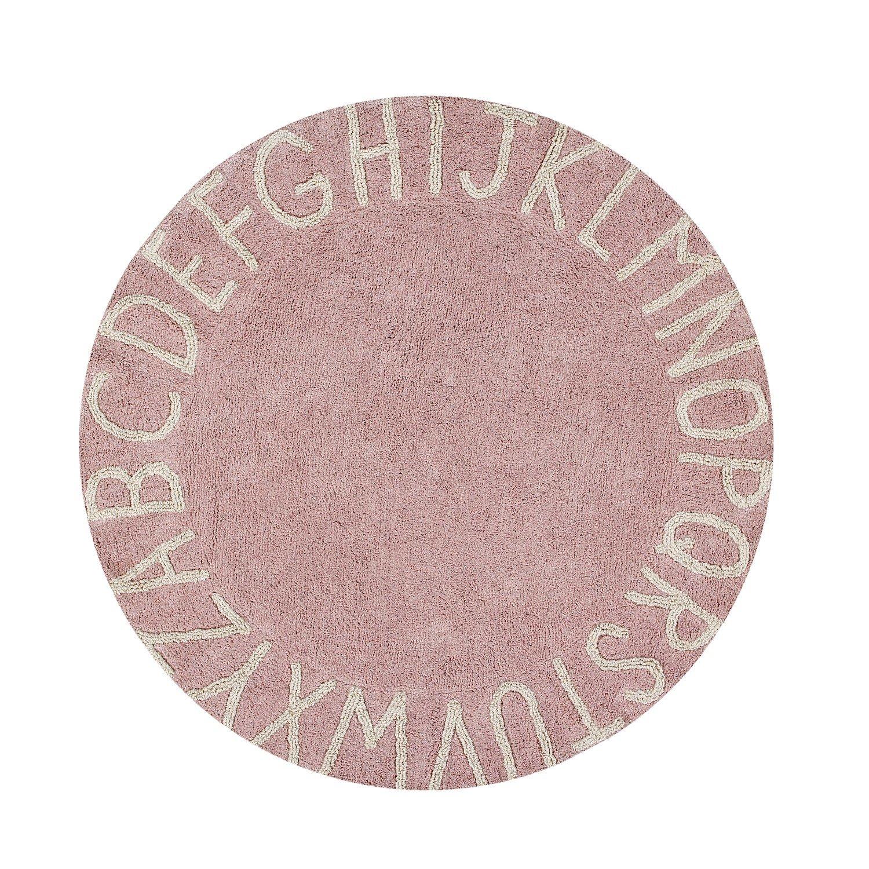 Lorena runder Teppich in rosa mit ABC - Wallenfels Onlineshop
