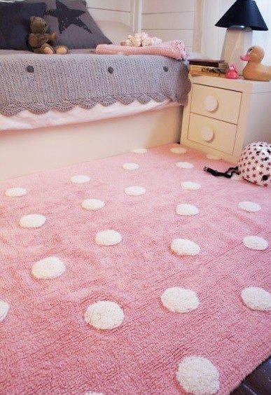 Teppich rosa  Lorena Teppich Punkte rosa im Wallenfels Onlineshop