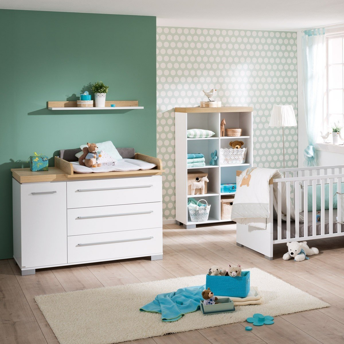 Kira Starterset Babymöbel - Wickelkommode breit & Babybett