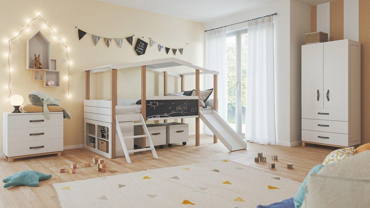 Kinderzimmer Set 21 teilig Cory mit Hausbett 21 x 21 cm