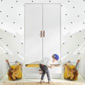 Kleiderschrank weiß (2 Türen/ 2 Schubladen)